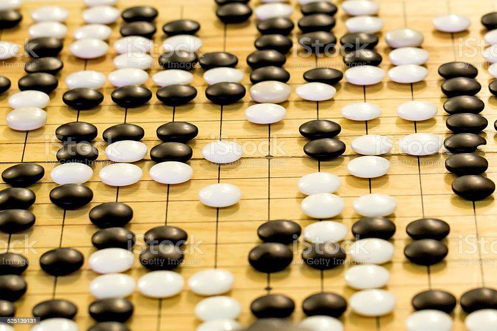 Nahaufnahme der Steine auf eine Go board – Foto