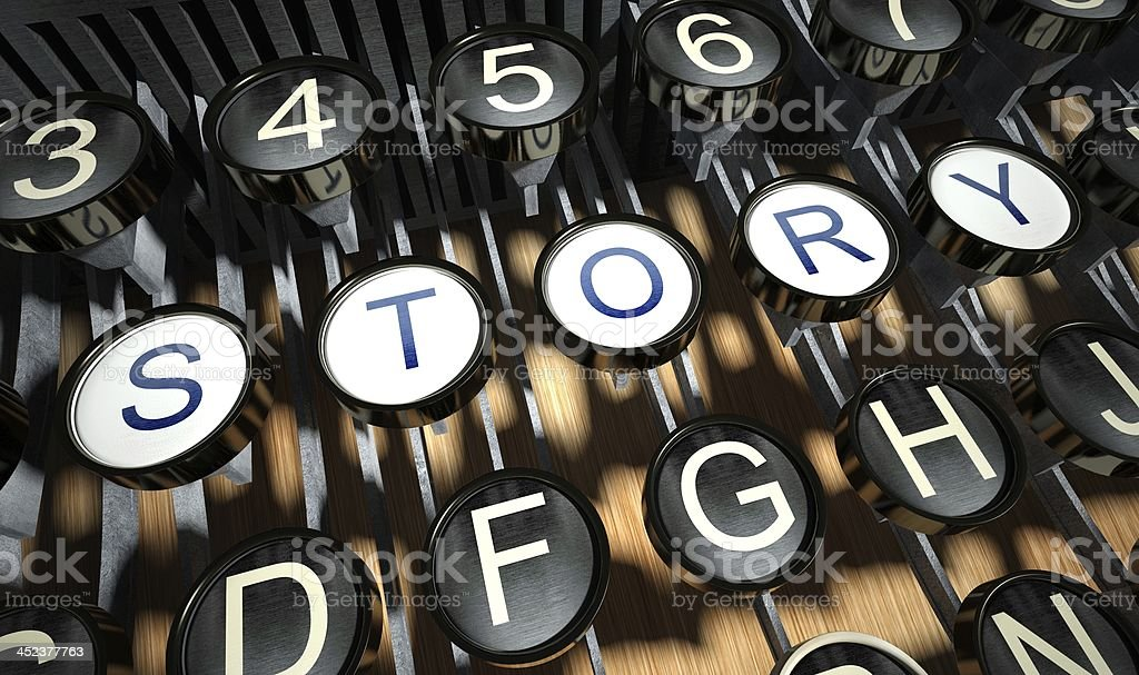 Close-up of story buttons on vintage-style typewriter royalty-free stock photo