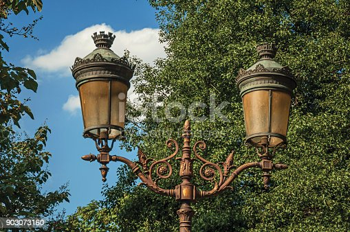 istock Close-up of street lighting among leafy trees and sunny blue sky at Paris. 903073160