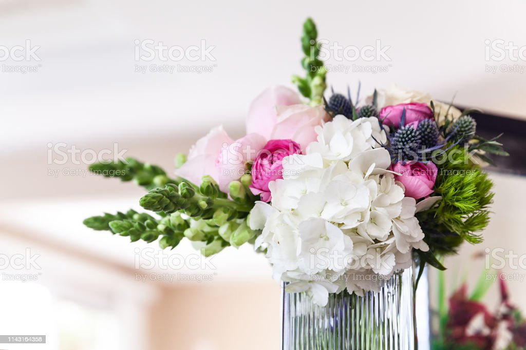 Closeup of stylish wedding bouquet in the morning stock photo