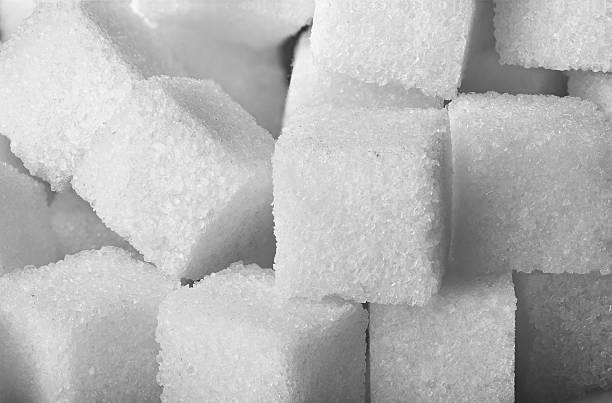 Closeup of sugar cubes stock photo