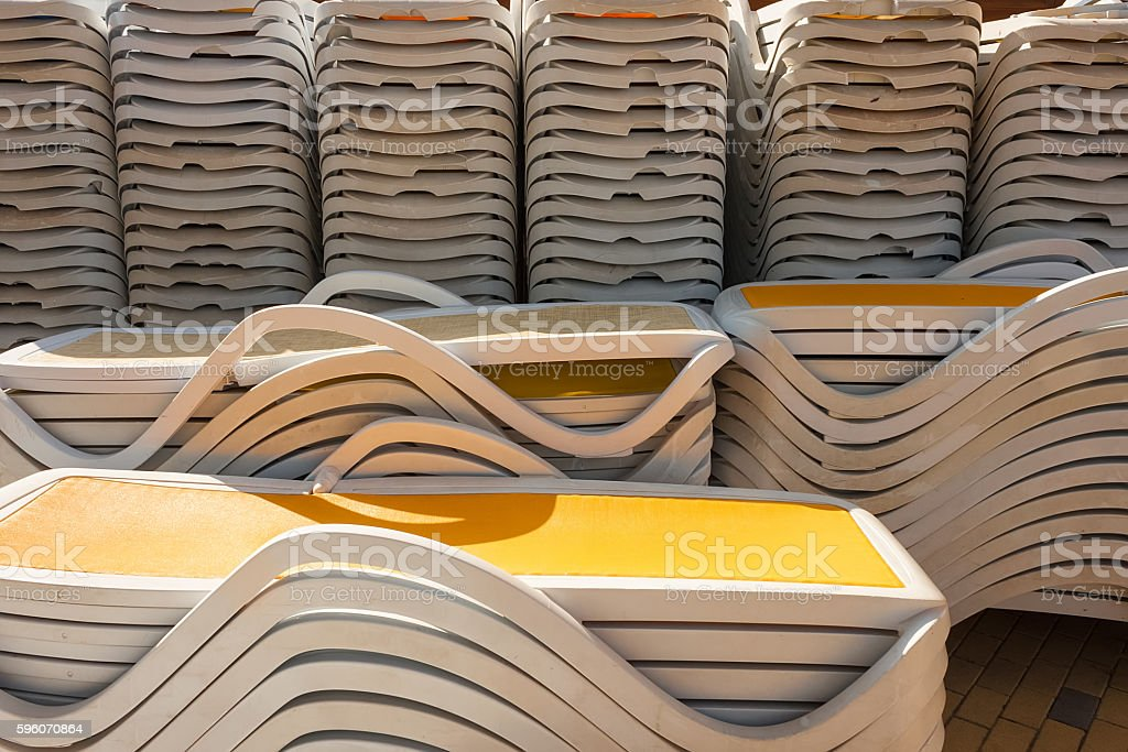 Close-up of sunbeds royalty-free stock photo