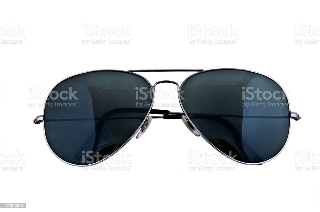 Close-up of sunglasses with black lenses against white stock photo