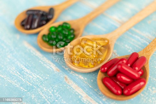 Close-up of colorful soft gelatin capsule supplements in a wooden spoon on a blue background Vintage.