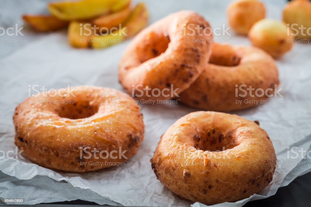 Closeup of sweet homemade donuts ready to eat stock photo