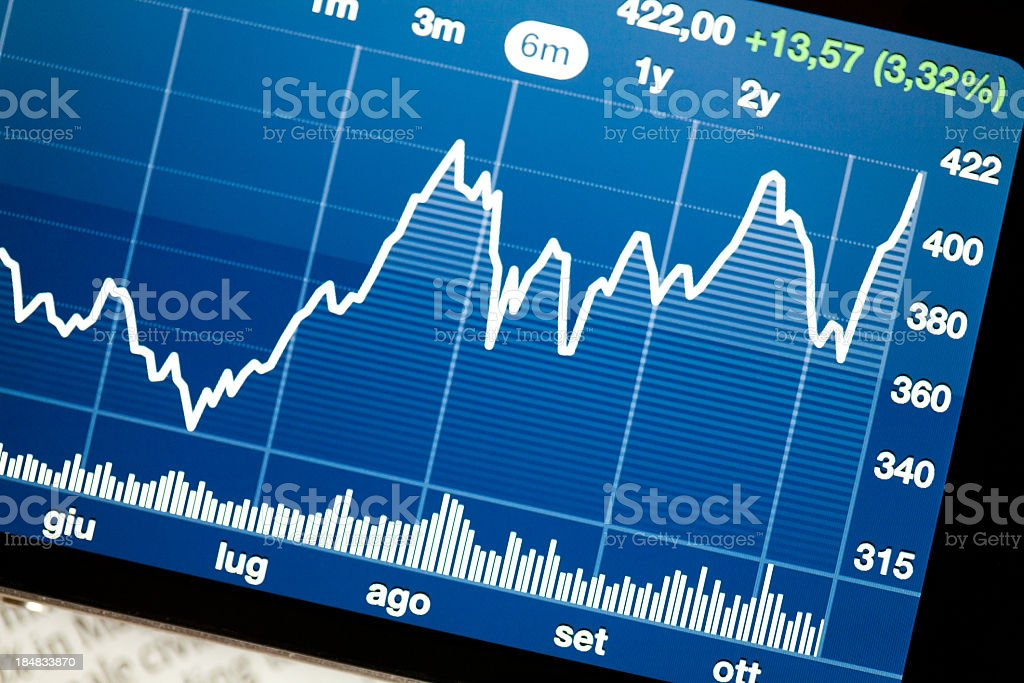 Close-up of tablet showing blue stock market analysis stock photo