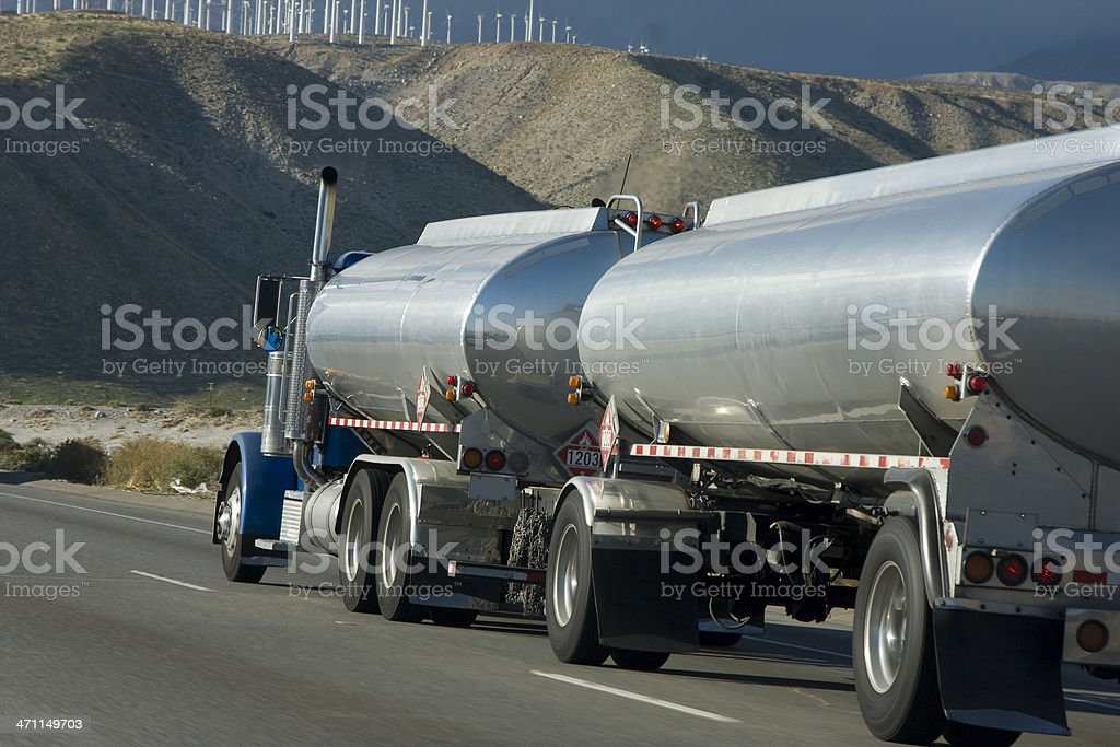 Close-up of tank truck parked along side of road royalty-free stock photo