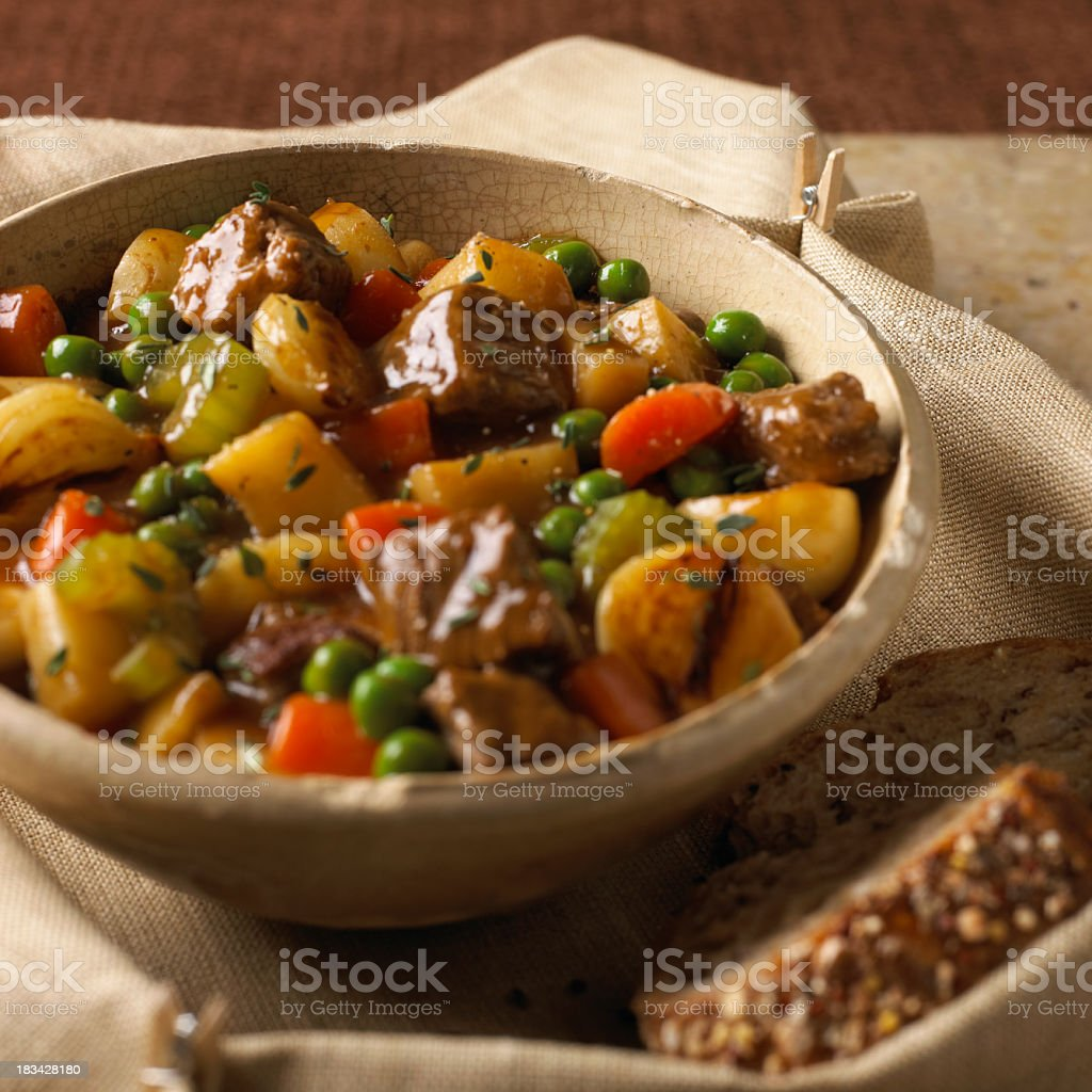 Close-up of tasty beef stew with variety of vegetables stock photo