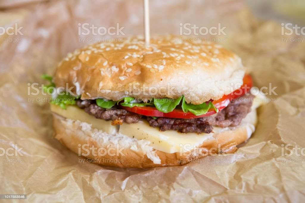 Closeup of tasty grilled homemade burger stock photo