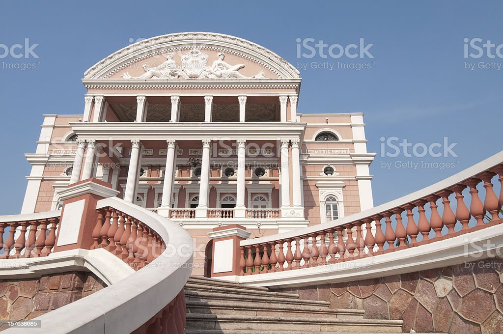 Close-up of Teatro Amazonas Opera House in Manaus, Brazil royalty-free stock photo