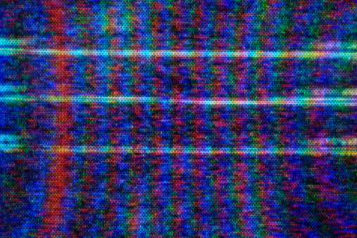 Close-up of television static.