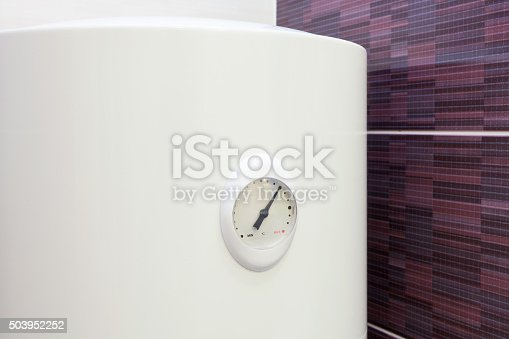 istock Closeup of temperature sensor in Electric Boiler (wall water heater) 503952252