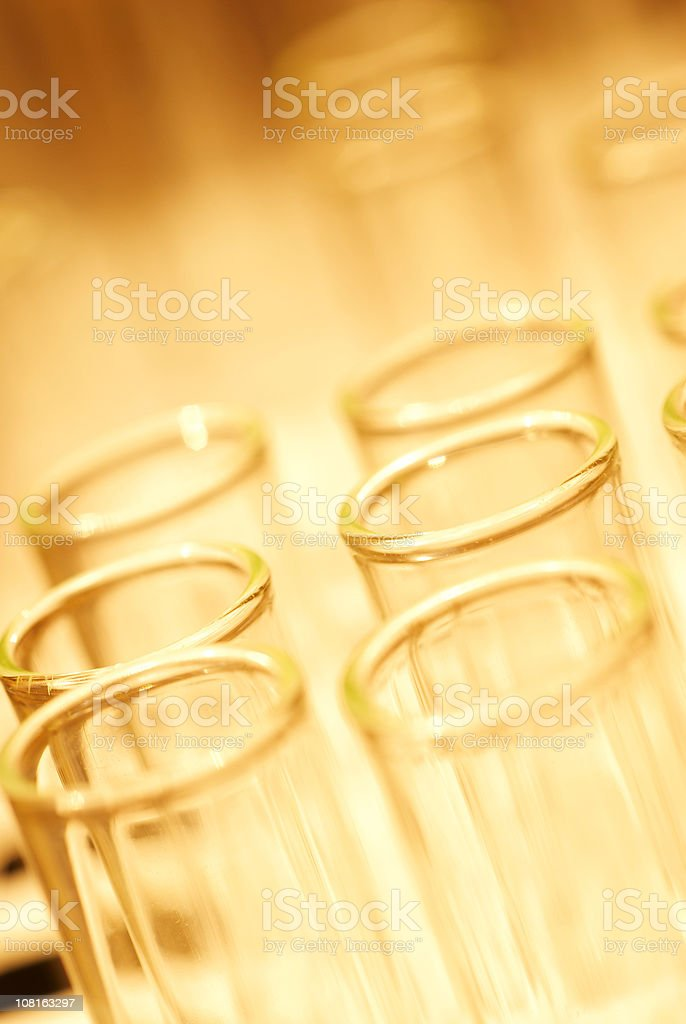 Close-up of Test Tubes in a Row royalty-free stock photo
