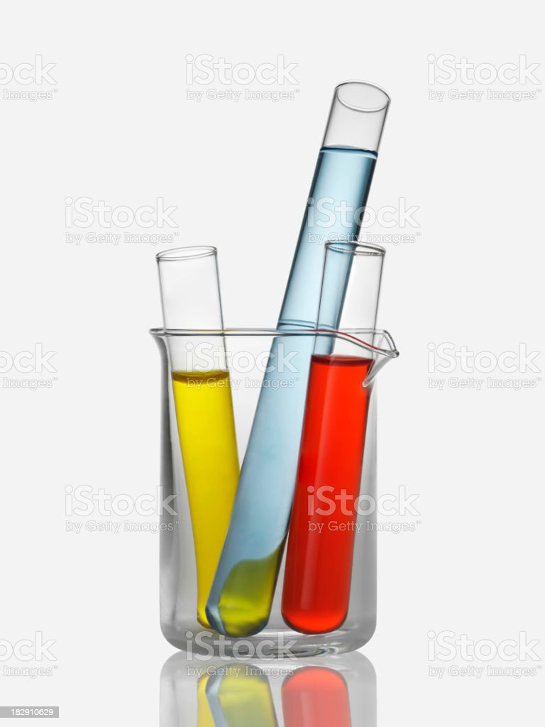 Close-up of test tubes inside a beaker stock photo