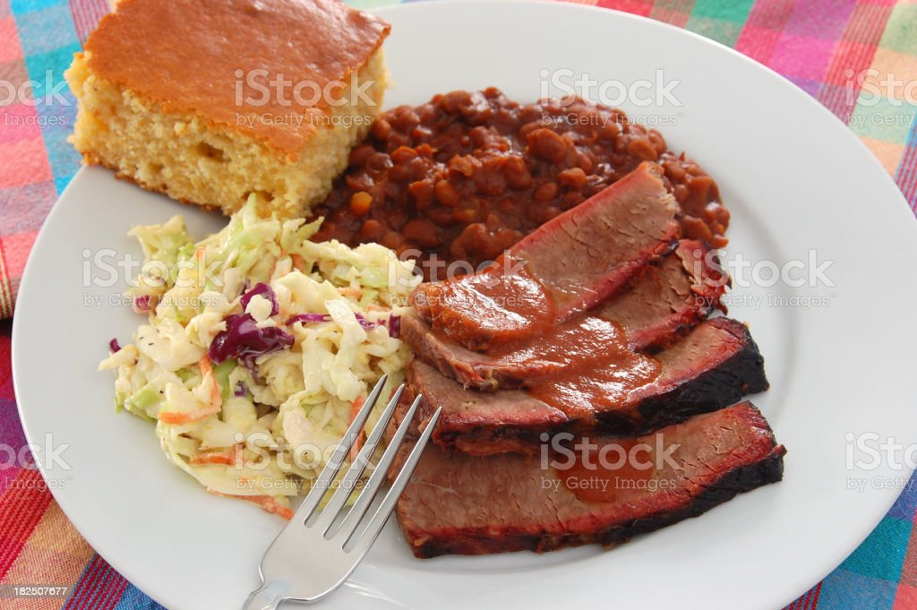 Close-up of Texas barbecue brisket stock photo