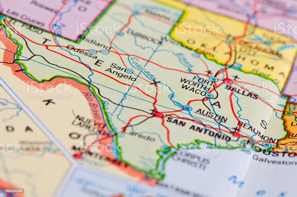 Close-up of Texas on a roadmap stock photo
