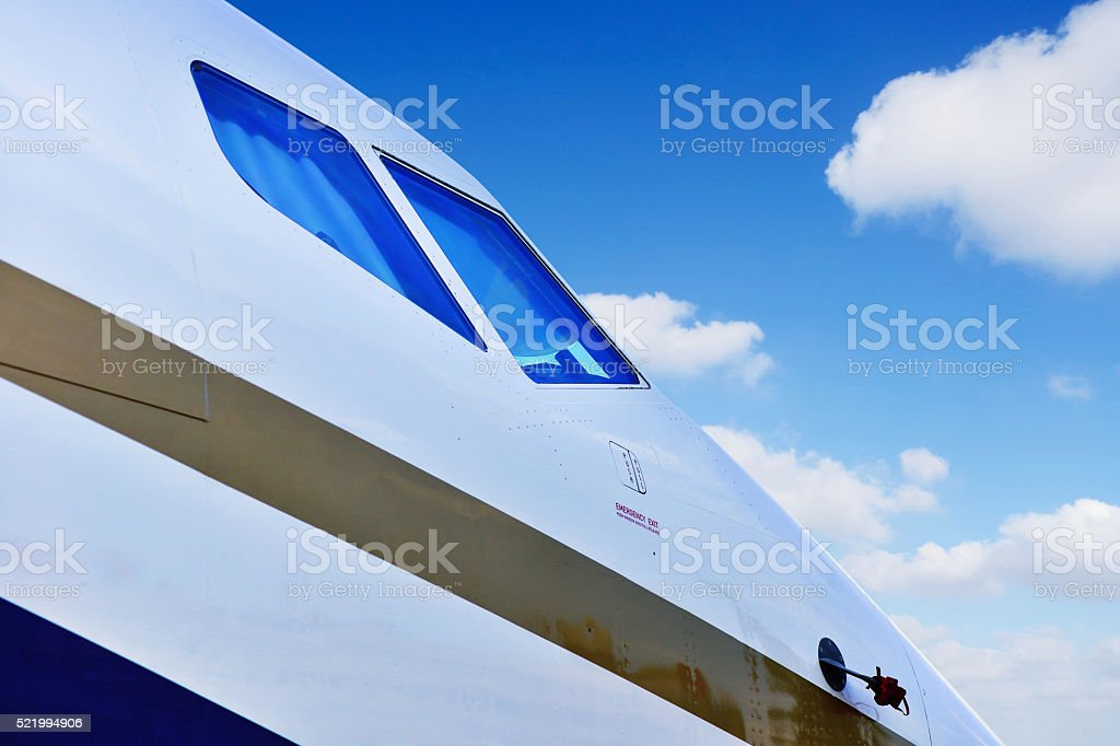 Close-up of the Airplane-head stock photo