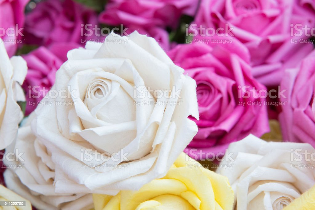 Close Up Of The Artificial White Rose Flower Royalty Free Stock Photo