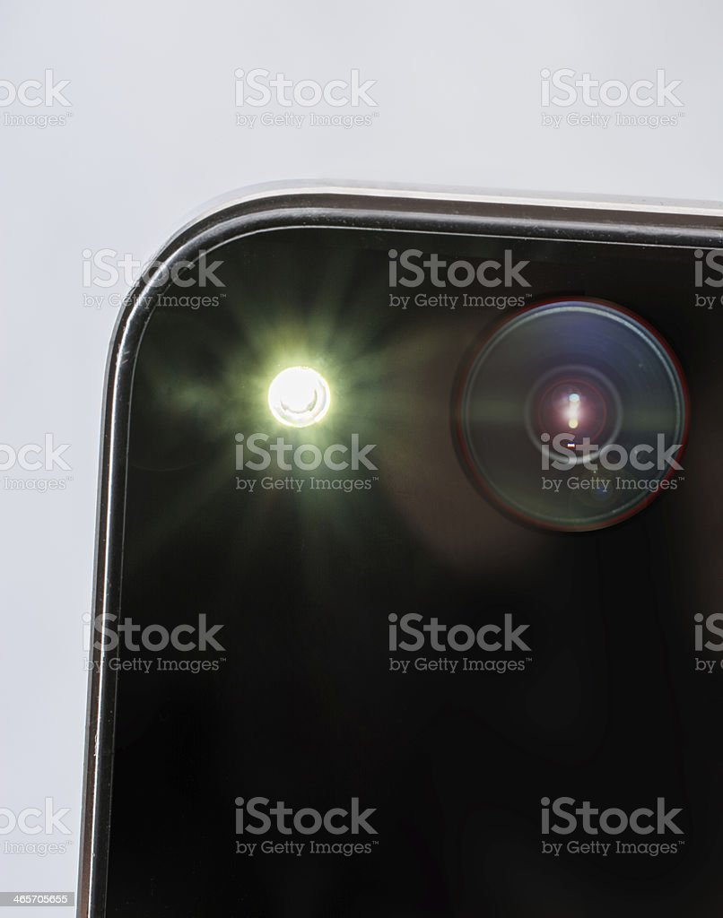 Close-up of the back of a smartphone taking a selfie stock photo