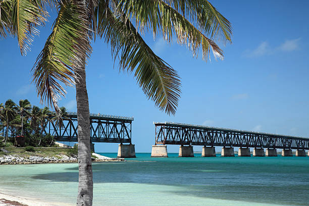 Closeup of the Bahia Honda bridge over water The Bahia Honda Bridge was part of the Henry Flagler´s railroad route to Key West. railway bridge stock pictures, royalty-free photos & images