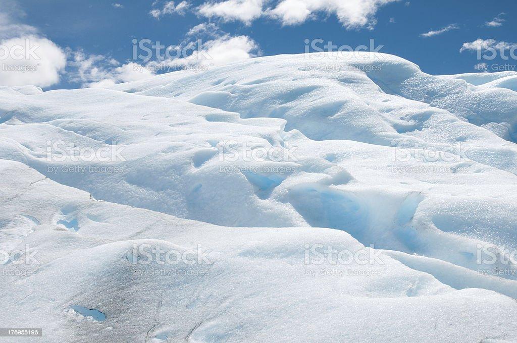 Closeup of the blue ice formations on Perito Merino glacier stock photo