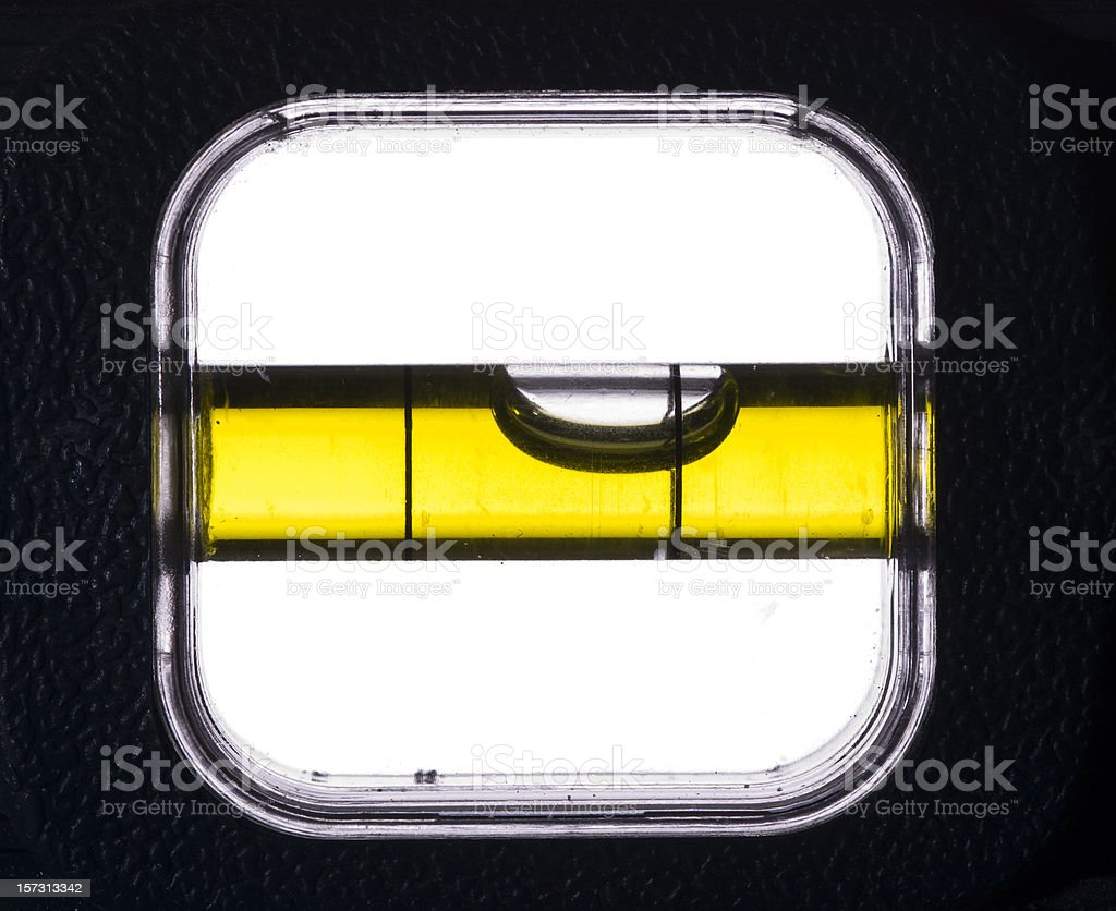 Close-up of the bubble in a spirit level stock photo