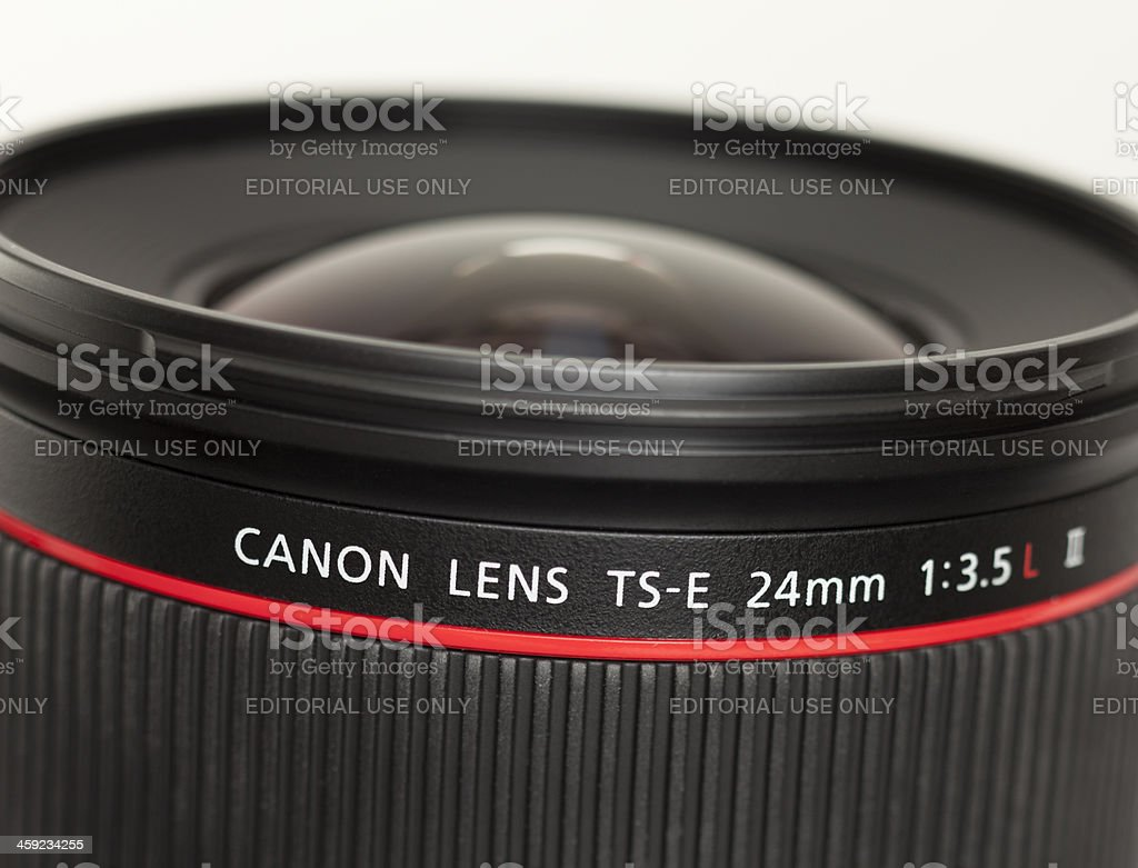 Close-up of the Canon 24mm tilt shift lens stock photo