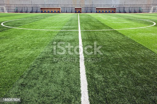 istock Close-up of the center line of soccer field 185087604