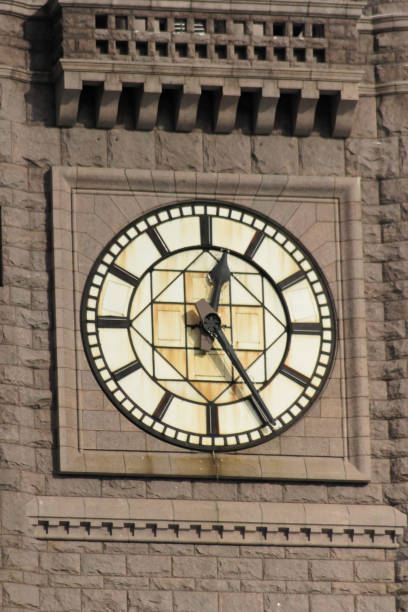 A close-up of the clock on Minneapolis City Hall stock photo