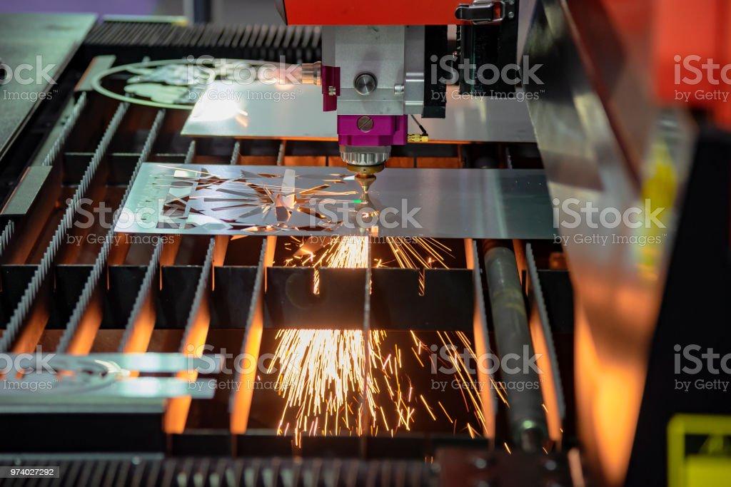 Closeup Of The Cnc Laser Cutting Machine Cutting The Metal