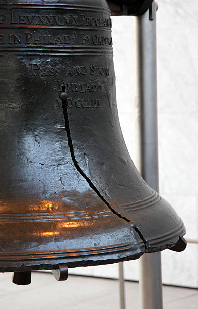 Close-up of the crack on the historic Liberty Bell stock photo