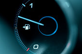 istock Close-up of the dashboard and fuel gauge in the car 839383908