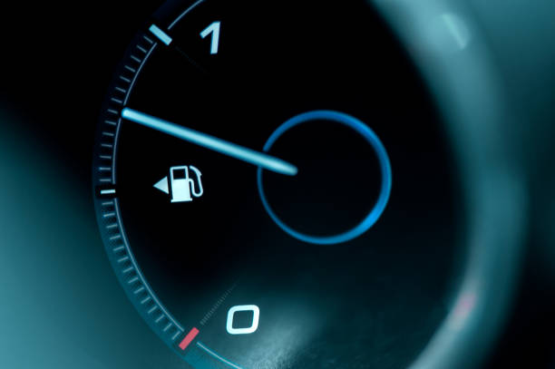 Close-up of the dashboard and fuel gauge in the car stock photo