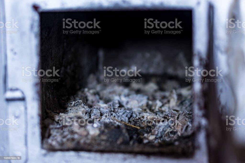 Closeup Of The Door Of A Woodburning Stove Wrought Iron