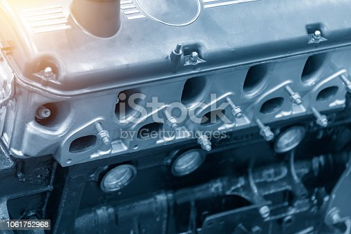 istock Close-up of the engine in the light blue scene. 1061752968