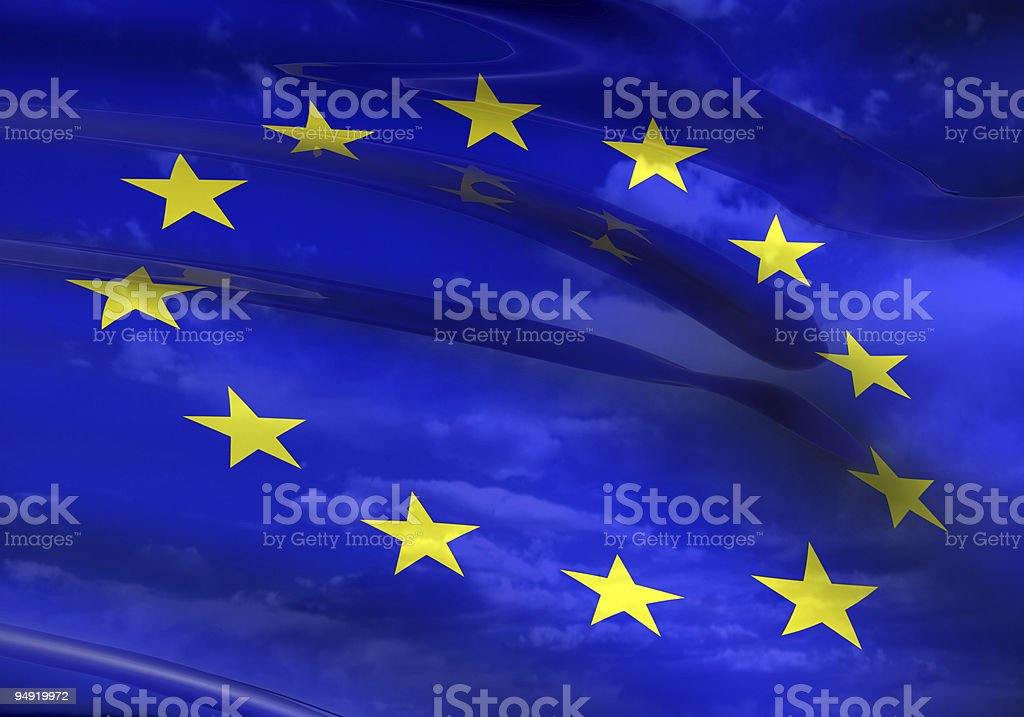 A close-up of the EU flag which is blue with yellow stars royalty-free stock photo