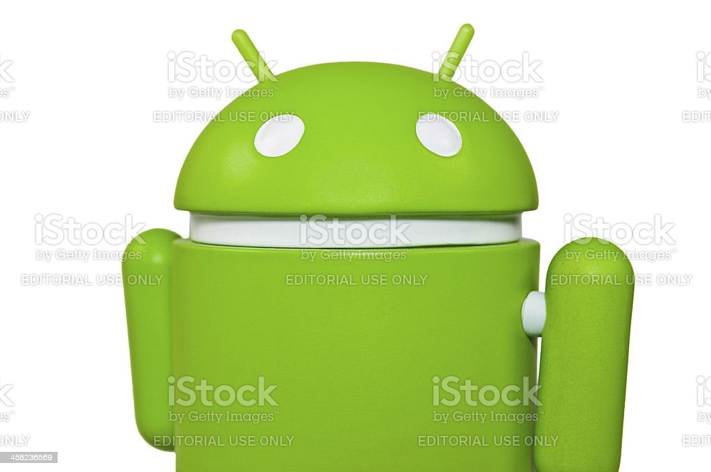 Closeup of the famous Google Android Mascot stock photo