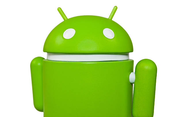 closeup of the famous google android mascot - cyborg stock pictures, royalty-free photos & images