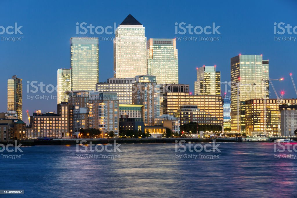 Closeup of the financial district Canary Wharf stock photo