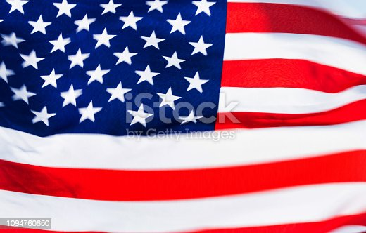 687972458 istock photo Close-up of the flying American flag 1094760650