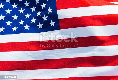 687972458 istock photo Close-up of the flying American flag 1182705238