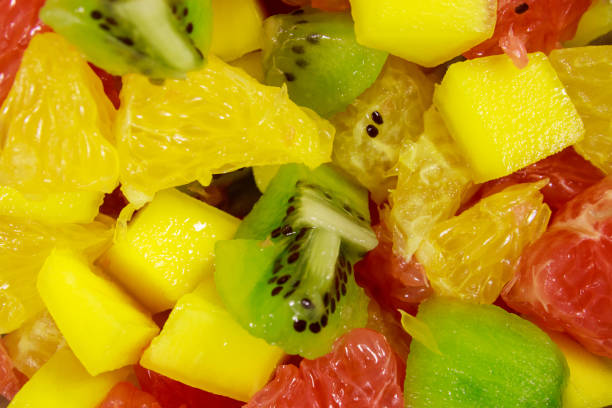 Closeup Of The Fresh Tasty Fruit Salad Stock Photo