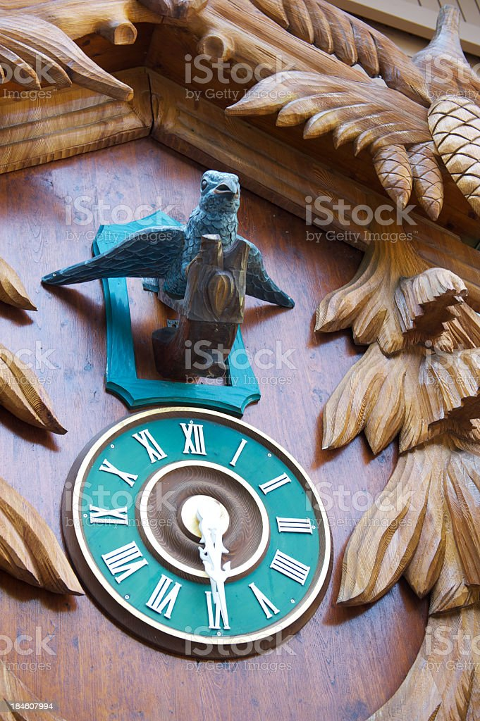 Close-up of the front of a cuckoo clock stock photo
