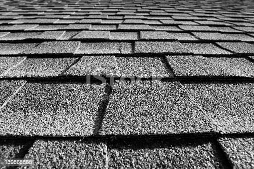 close up of roof shingles black and white