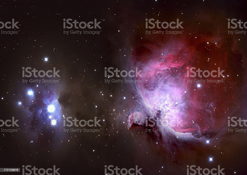 Closeup of the Great Orion Nebula stock photo