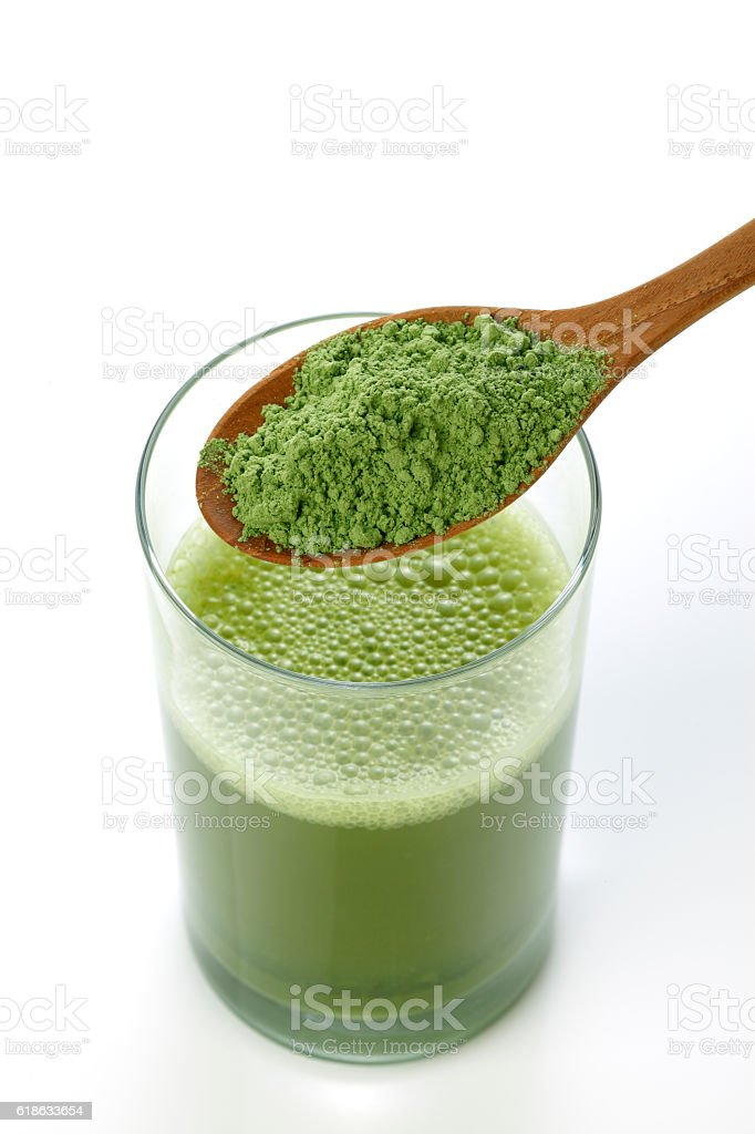 Close-up of the green vegetable juice stock photo