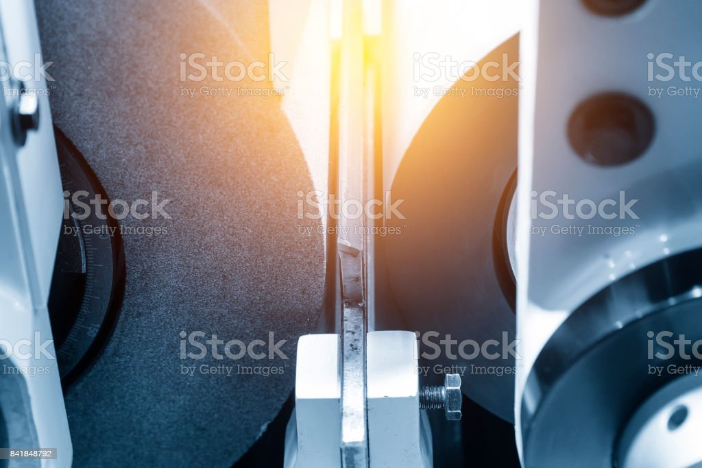 Close-up of the grinding machine stock photo