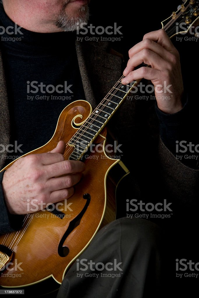 Closeup of the Hands, Mandolin Player stock photo
