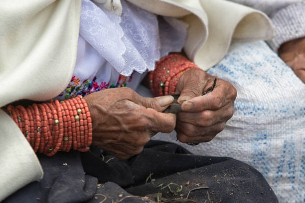 closeup of the hands of an indigenous woman in Ecuador stock photo