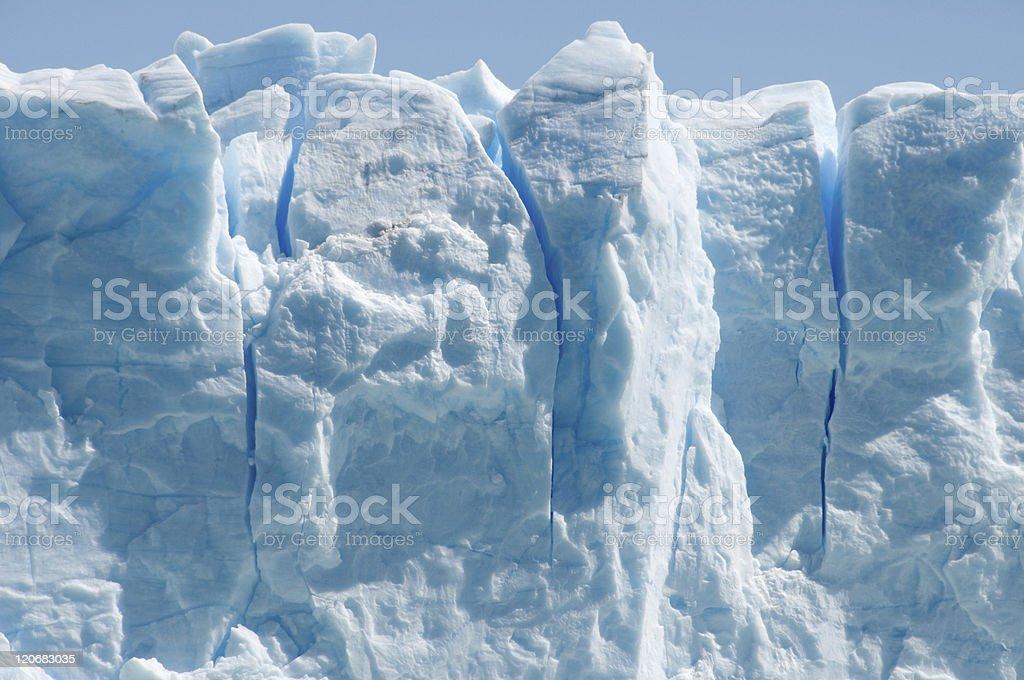 Close-up of the ice formations on Perito Merino glacier, Argentina stock photo